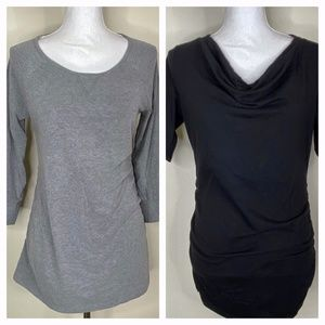 Maternity Casual T Shirt Bundle of 2 Grey Black